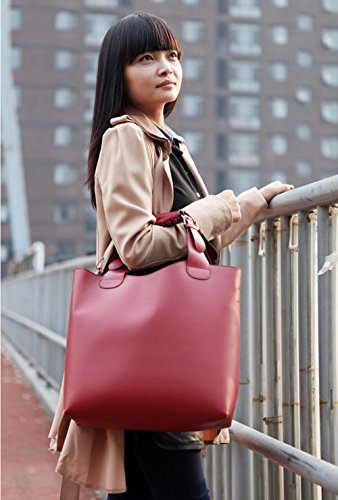 Wewod Bolso al Hombro/Bolso Bandolera Grande Mujer/Bolso Shopper Cuero/Bolsas de Deporte Retro 2 Piezas Conjunto 32 x 33 x 11 cm (L*H*W) Rojo