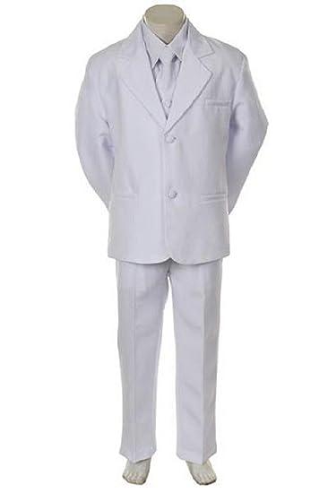 Amazon.com: bebé Baby Boy blanco Tie Esmoquin Traje De ...