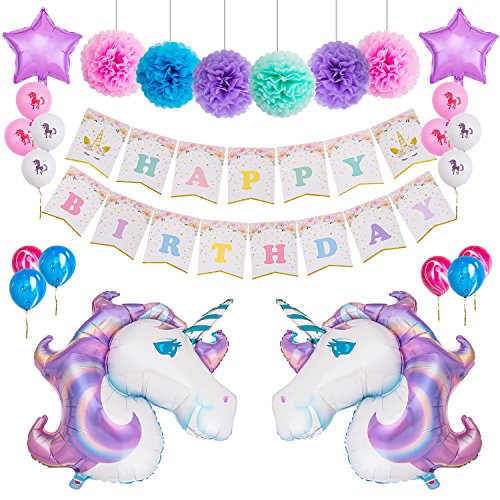 MeiHoyo Unicorn Themed Birthday Party Decorations Kit 1 Pcs Unicorn Happy Birthday Bunting Banner + 6 Pcs 12'' Paper Pom Poms + 2 Pcs 40'' Unicorn + 14 Pcs Star Foil Ballons Latex Balloons