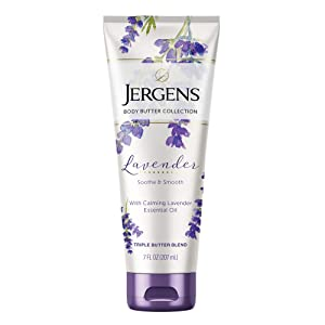Jergens Lavender Body Butter Moisturizer, 7 Ounce Lotion, with Essential Oil, for Indulgent Moisturization