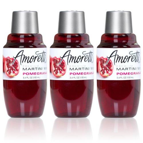 Amoretti Premium Martini Cocktail Mix Minis, Pomegranate, 3- Pack 3.4 Fluid Ounce