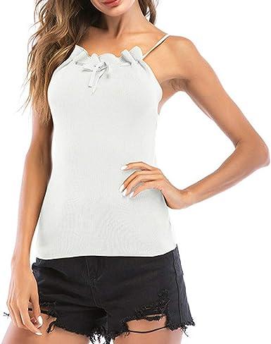 Linkay Blusa Mujer, Verano Camiseta Sin Mangas con Cuello ...