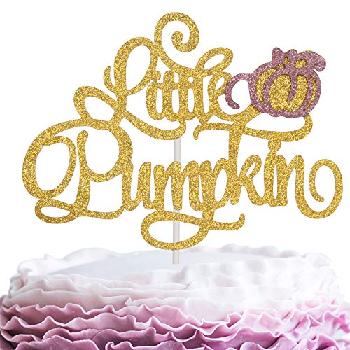Little Pumpkin Birthday Cake Topper - Gold Glitter Welcome Baby Cake Décor - Baby Shower Fall Gender Reveal - Happy Halloween Autumn Party Decoration]()
