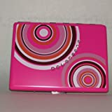 Glam Rhinestone Accented Flat Wallet and Id Holder Case, Pink with Circles, Bags Central