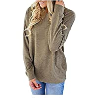 SocoToo Women Casual Long Sleeve Sweatshirt Solid Color Loose Blouses Tops with Pocket