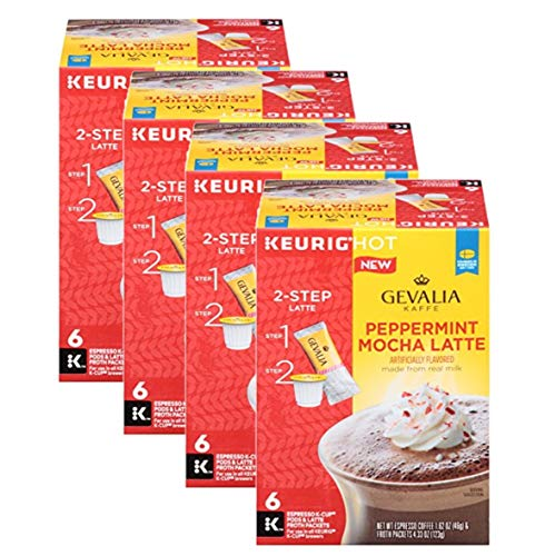GEVALIA Peppermint Mocha Latte, Espresso K-CUP Pods and Latte Froth Packets, 6 Count (Pack of 4)