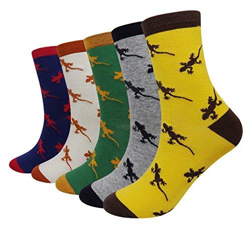 Wish Island Men's 5 Packs Fun Crazy Animal Cotton Casual Crew Socks (Lizard) -