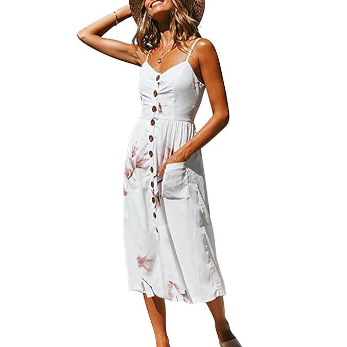 8a07d585ab Poptem Womens Midi Dresses V-Neck Bohemian Floral Spaghetti Strap Summer  Beach Sundresses