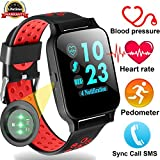 Duperym Smart Watch with Blood Pressure Heart Rate Monitor Men Women Wrist Wearable Watch for Boy Girl Sports Outdoors Activity Tracker Sync Call SMS for Android iOS (red)