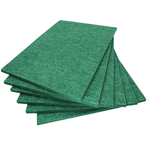 BXI Sound Absorber - Acoustic Absorption Panel - Polyester Fiber - Multiple Color Options - 16'' X 12'' X 3/8'' - 6 PACK (Dark Green)