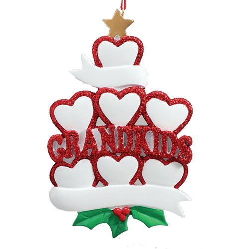 Berry Christmas Ornament - Personalized Grandkid Heart Family of 7 Christmas Tree Ornament 2019 - Glitter Red Love White Ribbons Golden Star Berries Grand-Child Cousins for Grand-Parent - Free Customization (Seven)