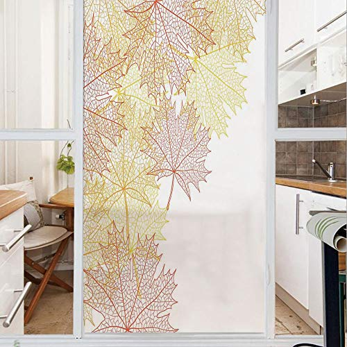 (Decorative Window Film,No Glue Frosted Privacy Film,Stained Glass Door Film,Pattern with Maple Tree Fall Leaves Skeleton Dried Golden Forms Halloween Decoration Decorative,for Home & Office,23.6In.)