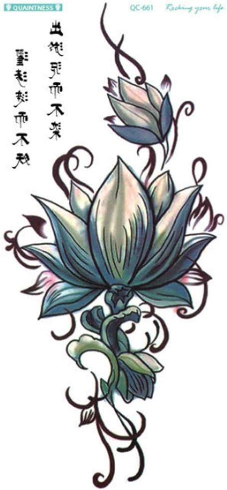 Kashyk - Tatuaje de flor de loto sexy verde y gris, tatuaje ...