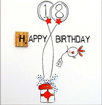 Geburtstagskarte Text 18.Bexyboo Gluckwunschkarte Zum 18 Geburtstag Veredelt Mit Einem Original Scrabble Stein Aus Holz Eine Hochwertige Und Originelle Geburtstagskarte Auch