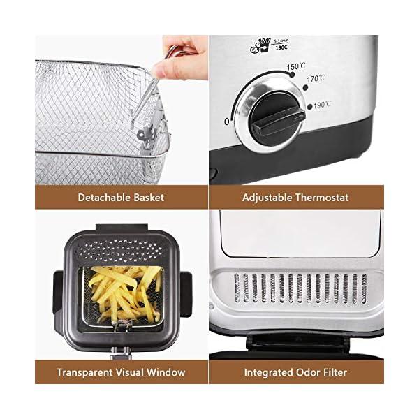 Aigostar Fries 30IZD - Friggitrice compatta da 1,5 L in acciaio inox, 900 watt con finestra di visualizzazione… 5