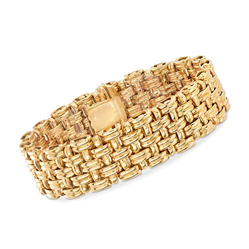 (Ross-Simons Italian 14kt Yellow Gold Basketweave Bracelet)