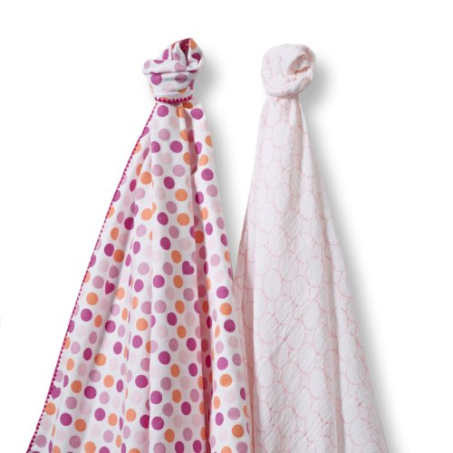 SwaddleDesigns SwaddleDuo, Set of 2 Swaddling Blankets, Cotton Muslin + Premium Cotton Flannel, Fuchsia Dots and Hearts Duo Count Flannel Receiving Blankets