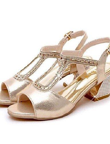 ShangYi Sandaletten für Damen Damenschuhe - Sandalen - Kleid - Kunstleder - Blockabsatz - Komfort - Silber / Gold golden