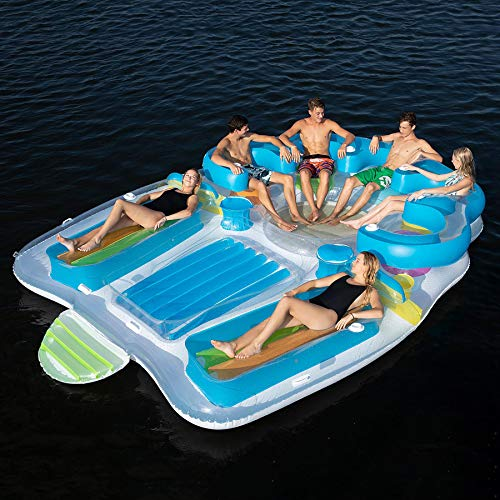 Tropical Tahiti Floating Island Inflatable Raft 7 Person! Built-in Inflatable Bench Seat with Backrests and Cooler! Inflatable Island with 2 Sun Tanning Decks! Perfect for Relaxation & Recreation! ()