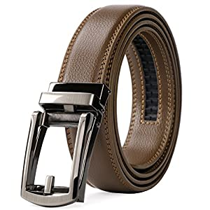 WERFORU Leather Ratchet Dress Belt cognac belt for Men with Automatic Buckle(light brown)
