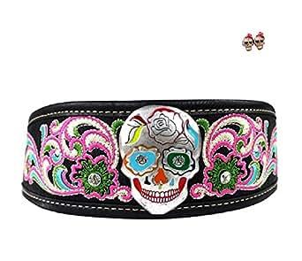 Montana West Sugar Skull Gothic Biker Western Headband Black + Earrings