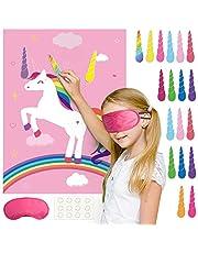 FEPITO Unicorn Party Game, Pin The Horn op het Unicorn Birthday Party Game met 24 hoorns voor Unicorn Party Decoraties, Kids Unicorn Birthday Party Supplies (Pink)