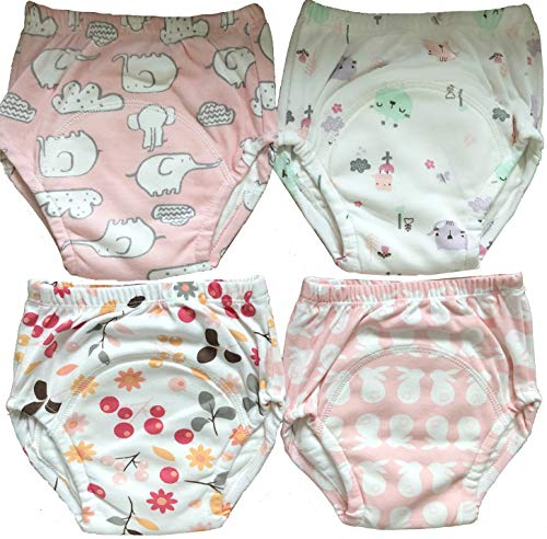 Training Pants Potty Training - 4 Pack Potty Training Pants/Padded Underwear for Toddlers | Washable & Resuable | Soft Cotton | Comfortable Fit for Your Baby (Large)