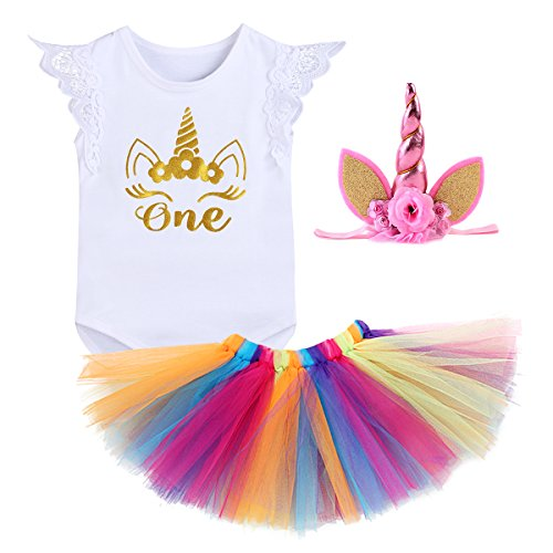 Crown Skirt - Infant Toddler 3PCS Outfit Skirt Tutu Onesie Unicorn Headband Romper Cake Smash Crown Princess Costume Christmas Dress #1 White Lace Sleeve 12-18 Months