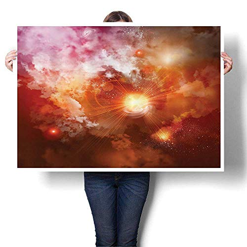 (Canvas Painting Sticker Cosmic Clouds of Mist Bright Gas Background in Space Celestial World Print On Canvas for Wall Decor,36