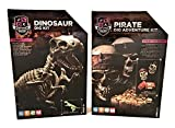 Science Squad Set of Two STEM Learning Adventure Excavation Kits / Pirate Dig and T-Rex Dinosaur Dig / for Kids Ages 8-12