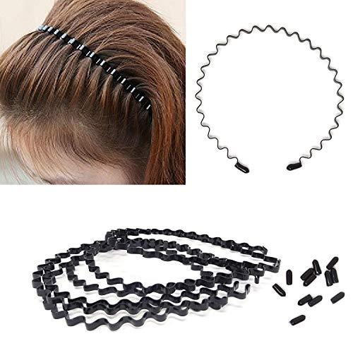 Honbay 6PCS Simple Fashionable Black Metal Wave Hair Hoop for Men, Women, Boys and Girls (C) ()