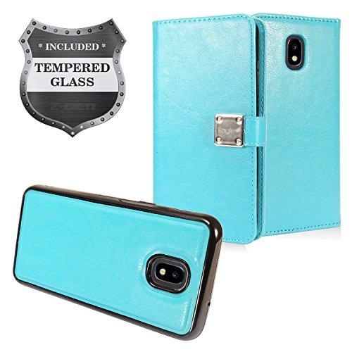 Z-GEN - Galaxy J7 2018, J7 Refine, J7 Star, J7 Crown, J7 Aura, J7 Top, J7 V J7V 2nd Gen J737 - Detachable Magnetic Flip Wallet Phone Case for Samsung + Tempered Glass Screen Protector - MW2 Light Blue -