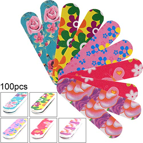 - 100 Pieces Mini Nail Files Double Sided Emery Boards Nail File and Buffers Nail Tools for Women Girls, 5 Colors