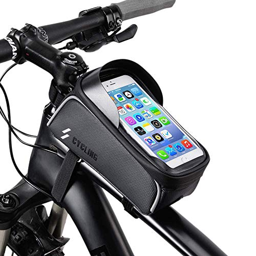 Abool Bike Bag Waterproof Front Frame Top Tube Mount Bicycle Handlebar Pannier Cell Phone Touch Screen Holder Storage Pouch Case Cycling Pack Fit for iPhone Xs Max X 8 Plus 7 6S Samsung S9 ()