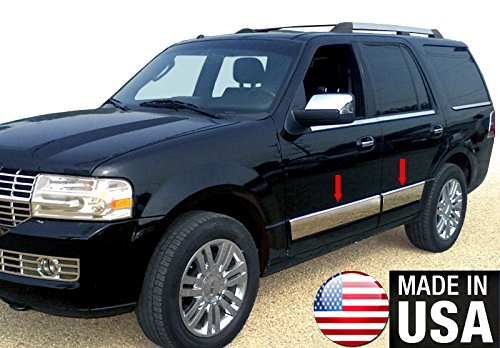 Made in USA Works with 2007-2015 Lincoln Navigator Body Side Rocker Panel Body Side Trim Molding 6 Wide 4PC Overlay