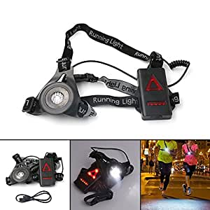 Lixada LED Chest Running Light 3 Modes Rechargeable 800LM for Hunting Jogging Hiking Outdoor Sports
