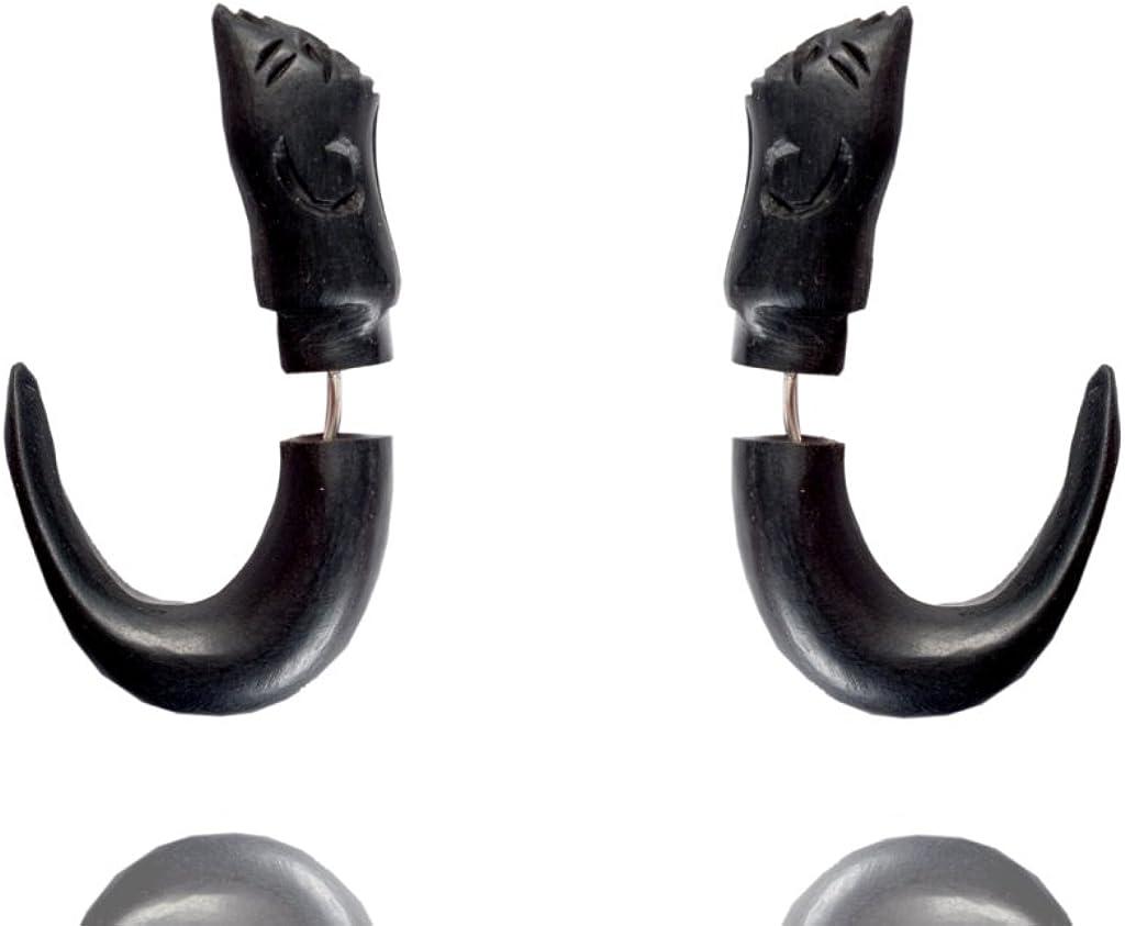 Tibetan Wooden Handcarved Tribal African Design Wood Fake Gauge Earring Jewel WER047