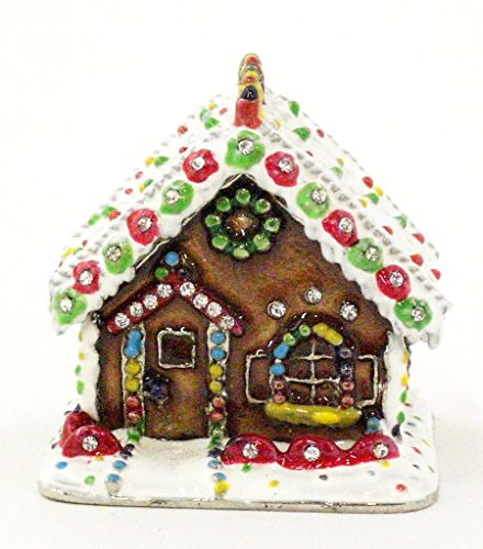 - Gingerbread House Trinket Box, Hand Set Swarovski Crystal, Hand Painted Colorful Enamel Over Solid Pewter Base, Inside of Box with Lovely Enamel, Comes in Beautiful Gift Box, L 2.25 x H 2.25 x H 2.50