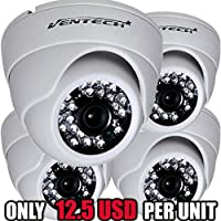 Ventech (4 Pack) HD 1000TVL 24 IR LED AWESOME Quality Video CCTV cmos 960h Dome Camera Home Security Day/Night Infrared IR night Vision Indoor Wide Angel 3.6mm audio