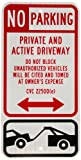 """SmartSign 3M High Intensity Grade Reflective Sign, Legend """"No Parking - Private and Active Driveway"""" with Graphic, 24"""" high x 12"""" wide, Black/Red on White"""