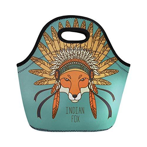 Reusable Headgear - Semtomn Lunch Tote Bag Brown Native Indian Fox Orange American Headgear Bead Cartoon Reusable Neoprene Insulated Thermal Outdoor Picnic Lunchbox for Men Women