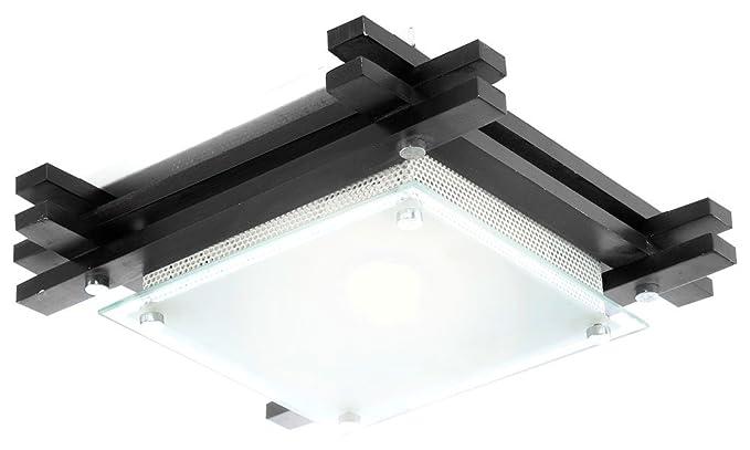 Plafoniera Quadrata 40x40 : Globo plafoniera in legno scuro vetro satinato 1x60w e27 230v