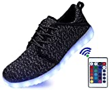 SLEVEL LED Light Up Shoes With Remote Flashing Sneakers for Kids Boys Girls(S36Black38)