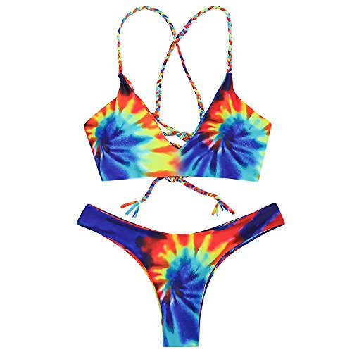 ZAFUL Womens Sexy Floral Tie Dye Braided Criss Cross Padded Bikini Set (Blue ()