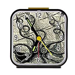 Bernie Gresham Nautical Vintage Sailing Pirate Octopus Custom Square Black Alarm Clock