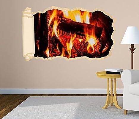 3d Pegatina pared HOGUERA FUEGO estufa madera Tapete Pared Adhesivo Brecha en la pared Decoración Mural Adhesivo de pared 11n1228 - ca. 140cmx82cm