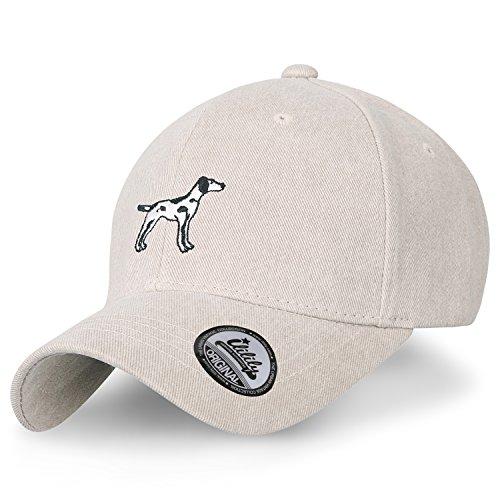 Dalmatian Embroidery (ililily Dalmatian Embroidery Baseball Cap Color Cotton Strap Back Trucker Hat, Beige)