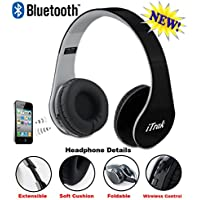 iTrak Wireless Bluetooth Headphone; Over Ear; Foldable; Noise Canceling; Audio Streaming & Call Microphone + USB Charging & Aux In Cable BTH024MO - Black