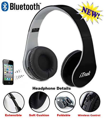 iTrak-Wireless-Bluetooth-Headphone-Over-Ear-Foldable-Noise-Canceling-Audio-Streaming-Call-Microphone-USB-Charging-Aux-In-Cable-BTH024MO-Black
