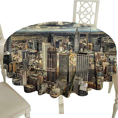 Flyerer Urban Fabric Tablecloth Melbourne Cityscape Modern Australia Architecture Buildings Metropolis Dramatic Sky Outdoors Round Tablecloth Diameter 36